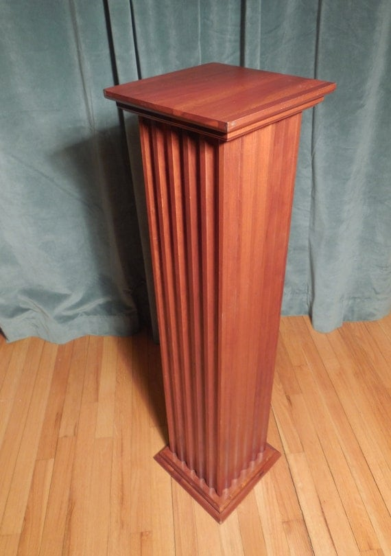 Ethan Allen Fluted Cherry Wood Square Plant Stand Pedestal