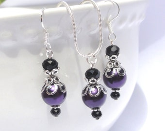 Plum pearl Bridesmaid Jewelry Set, Wedding Jewelry, Bridesmaid Gift, purple pearl earrings and necklace set