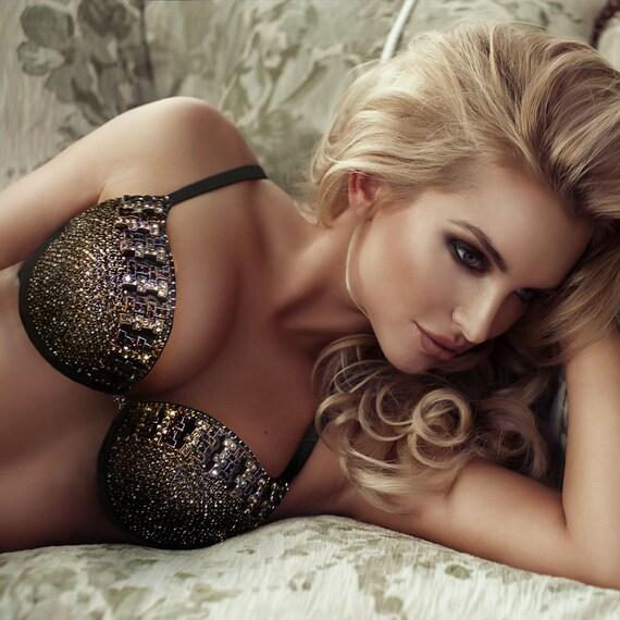 Bra - Rhinestone Bra - Sexy Bra - Rhinestone Lingerie - Golden Bra - Luxury Lingerie - Sexy Lingerie - Luxurious Bra - Goddess