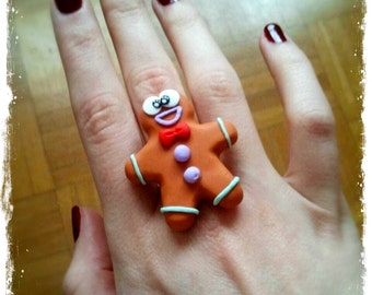 Polymer Clay Gingerbread Man Ring