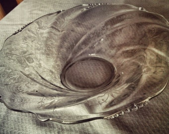 Heisey Orchid Clear Glass Etched Console Bowl