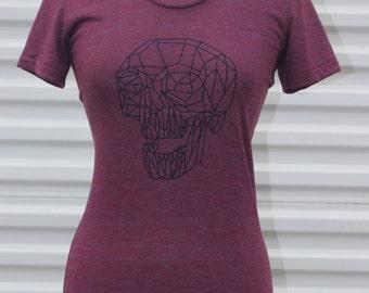 Burgundy / Red Geometric Skull American Apparel Tshirt