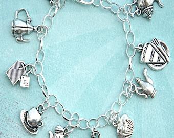 tea party charm bracelet- tibetan silver bracelet, themed charm bracelet, tea set, tea pot, tea cup