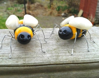 Two Bee figurines, Polymer Clay Bees, Bug Model, Bee Ornament, Insect Sculpture, Bumble Bee Cake Topper, Bug Lovers Gift, Bee Keepsake