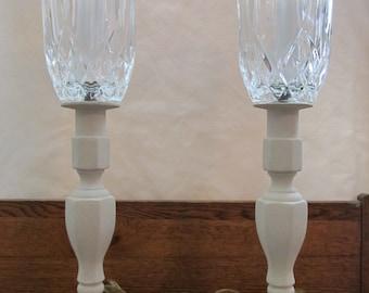 Upcycled Vintage Lead Crystal Table Lamp Pair