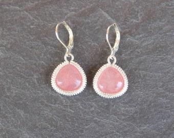 Pink earrings stone framed  Matte Silver Triangle, Dangle earrings