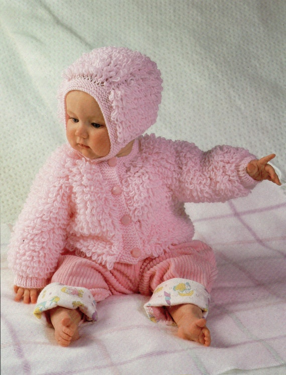 Knitting Patterns For Loopy Cardigan : Baby Knitting Pattern Baby Loop Stitch Cardigan Bonnet Baby