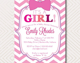 It's a Girl! Pink Chevron Baby Shower Invitation with Pink Bow. DIY Printable Baby Shower, Birthday, & Bridal Shower Invite