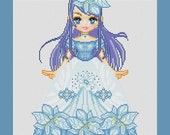 Blue Flower Girl Anime Fairy Counted Cross Stitch Pattern in PDF for Instant Download