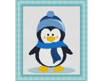 Little Penguin Wearing Blue Hat Counted Cross Stitch Pattern in PDF for Instant Download