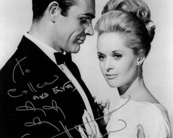Tippi Hedren & Sean Connery, signed by Tippi, a color photo of Tippi and a photo of Tippi with Colleen Conte