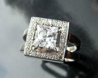 Unique ENGAGEMENT RING Custom  Moissanite or square Princess Cut Diamond Solitaire square Diamond Halo Diamond Ring, Unique Solitaire Ring