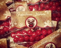 Reindeer Noses Bag Topper for your Holiday Parties Print your own Instant Download, Whimsical Christmas Treat, School Party Treat Topper
