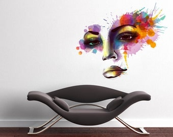 Woman Face - Watercolor Decal - Vinyl Wall Art Decal