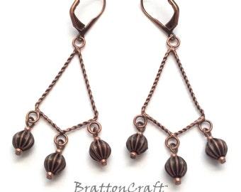 Copper Chandelier Earrings - Chandelier Earrings - Copper Dangle Earrings - Copper Jewelry