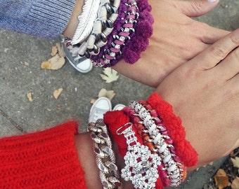 Pom pom bracelet, rainbow bracelets, pom pom jewelry, arm candy, stackable bracelets, arm party bracelets, woven bracelet, fashion bracelet