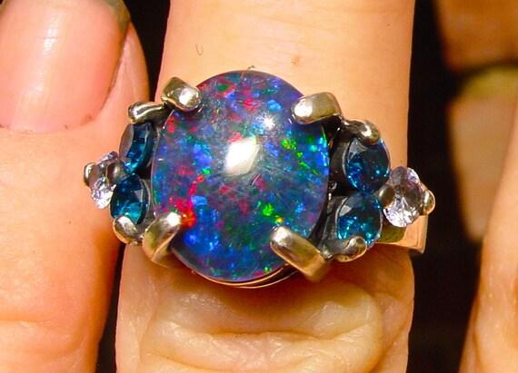 Genuine Australian Opal ring Opal 12x10mm w by AmyKJewels