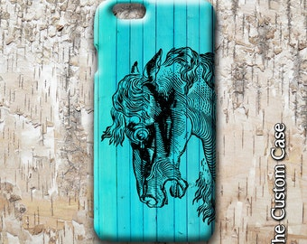 Carousel Horse Iphone Case, Horse Case, Horse on Blue Wood Iphone Case, Iphone 4 Case, Iphone 5 case, Iphone 6 case
