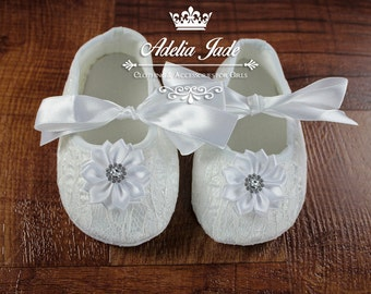 White Baby Shoes, Christening Baby Shoes, Baby Baptism Shoes, Crib Shoes, White Baby Girl Shoes, Soft Sole Baby Shoes, Newborn Girl Shoes