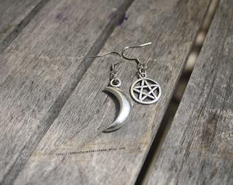 Moon Goddess Stainless Steel Hook Earrings