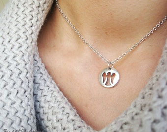 Tiny angel necklace - Guardian angel necklace - sterling silver
