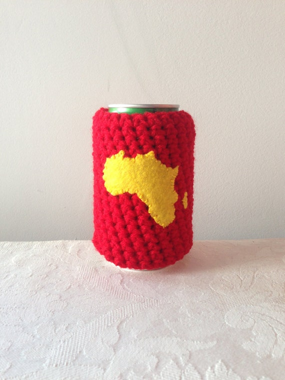 Crochet Patterns For Koozies : Africa Map Crochet Beer Coozie in Pan-African Colors by by ...