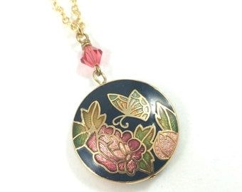 Cloisonné Necklace, Enamel Pendant Necklace, Gold Flower Necklace, Floral Jewelry, Vintage Jewelry, One Of A Kind Jewelry, Gift for Her