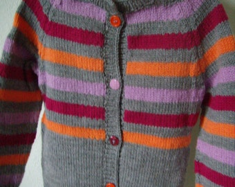 vest, cardigan girl, 5 / 6 years up, knit, Christmas gift