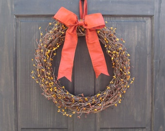 Fall Wreath, Fall Mantle Decor, Fall Front Door Wreath, Fall Front Door Decor, Thanksgiving Wreath, Primitive Wreath, Fall Berry Wreath