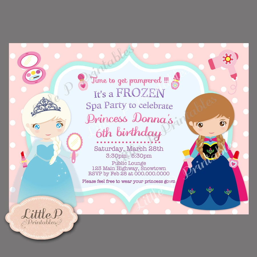 Frozen spa party – Spa Party Invitation Wording