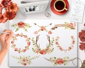 Watercolor Flower Clipart Floral Wedding set Watercolour Clip art graphics red and pink including antlers horns arrows laurels and wreaths