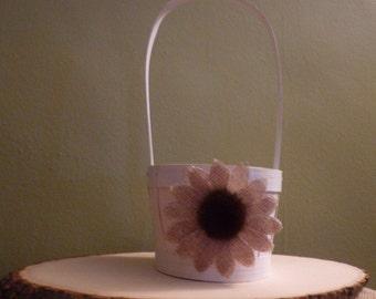 Rustic White a burlap daisy flower girl basket.
