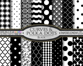 Black Polka Dot Digital Paper: White and Black Digital Paper, Black and White Printable Patterns, Black and White Scrapbook Paper