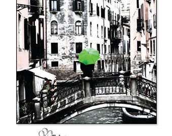 Art Print - Square - Green Umbrella on a Bridge Over a Canal in Venice, Italy - Various Sizes - Photo - Print