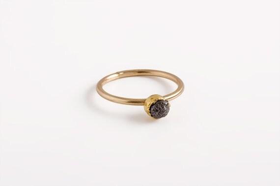 Très Engagement de bague or diamant brut diamant noir bague bague ZY04
