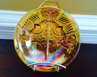 Amber Carnival Glass Two Part Divided Relish Dish, Serving Dish, Vintage Kitchen, Serving, & Entertaining