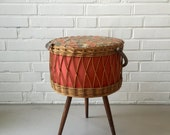 Vintage sewing basket, mid century, sewing box, basket