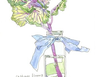 Box of 8 Cabbage Flower Notecards