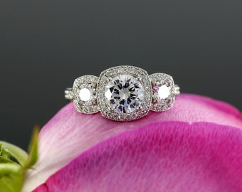 Moissanite Three Stone Halo Engagement Ring with Diamonds in 14K White Gold  (rose gold, yellow gold and platinum available)