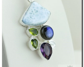 Made in Italy! Caribbean Larimar Labradorite Amethyst 925 SOLID Sterling Silver Pendant + 4mm Snake Chain & Worldwide Shipping P1841