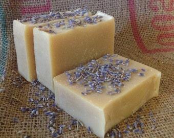 Lavender Goat Milk Soap, All Natural, Handmade Bar Soap Cold Process Farm Lavender Essential Oil
