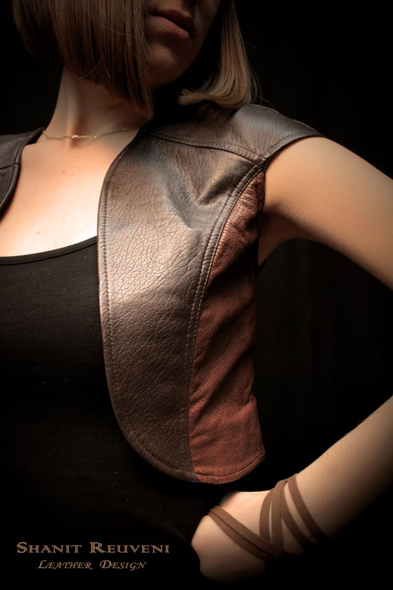 women s sexy brown leather vest