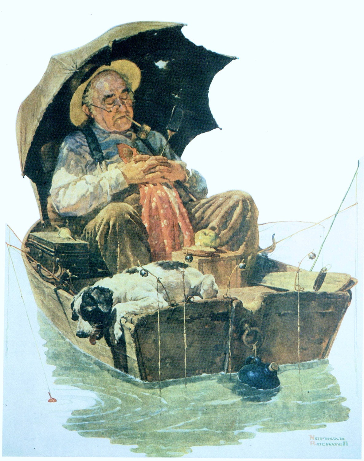 Norman Rockwell Vintage Art Print Old Man in Fishing Boat