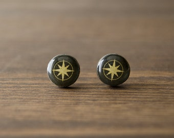 Wind rose earrings, star, compass, brown, khaki, yellow, stud earrings