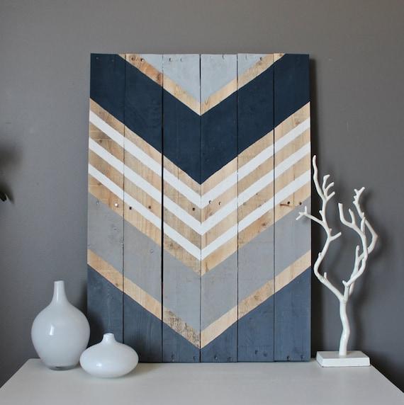 Chevron Wood Wall Decor : Modern navy gray grey chevron arrow wood wall art by
