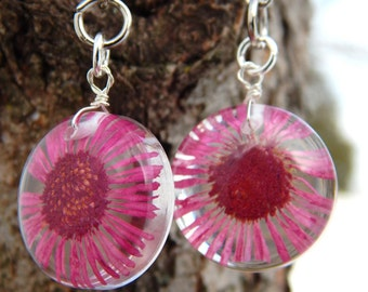 Pink Flower Resin Earrings