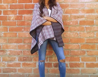 Houndstooth Plaid / Stripped Reversible Blanket Cape