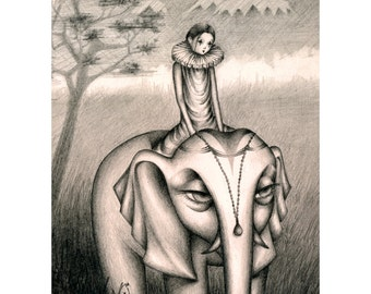 Elephant and clown print, Fantasy print, Pop surrealism, Fantasy art, Wall decor, illustration