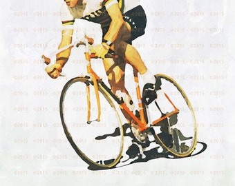 "12""x18"" Eddy Merckx Watercolor Motivational Print / Poster"