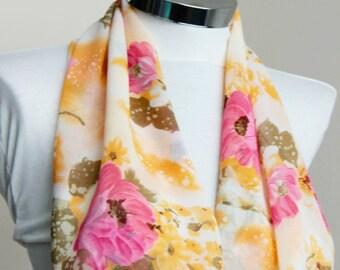 Spring Summer Fashion floral infinity scarf: Pink yellow orange wild roses Scarf  shawl wrap spring summer fashion gift for her spring scarf